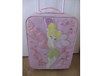 DISNEY TINKERBELL PULL ALONG SUITCASE with extending handle firm exterior & carry handle
