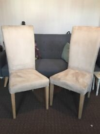 Dining chairs x4 cream suede