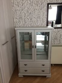 Recently Chalk Painted In Winter Grey Lovely Glass Cabinet