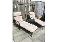 Two High Quality adjustable metal garden lounger chairs & table (Wollaton)