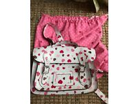 Yoshi heart leather satchel, used maybe twice, has dust cover bag with it £25
