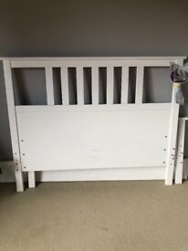 White Ikea Hemnes double bed and mattress for sale