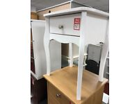 1 drawer bedside table - white - metal hanlde