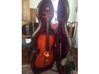 3/4 size cello, bow, case