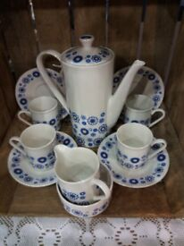 Retro 1960's Blue Daisy Coffee Set Lord Nelson Pottery England
