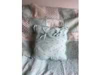 Shabby chic bedspread and cushion