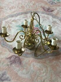 Beautiful Brass 5 arm Chandelier. VGC.