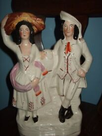 Staffordshire pottery couple figurine Antique