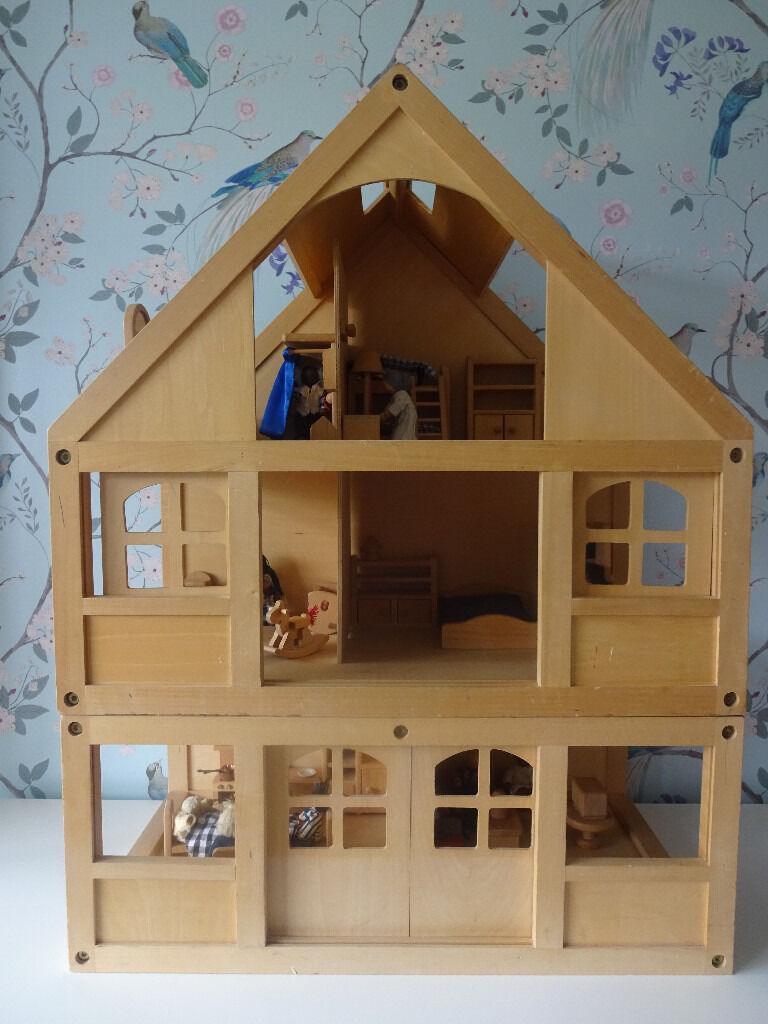 Large Wooden Doll House W 2 Families In Southwick East