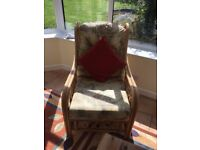 Conservatory Furniture: cane 2 seater sofa and 1 armchair.