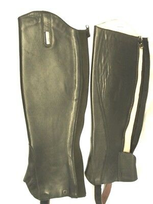 Half Chaps by Burattau Paris in Smooth Black Leather Size Small