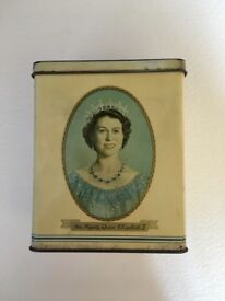 Vintage Tea Caddy Tin Commemorating the Royal Coronation of H.M. Queen Elizabeth II 2nd June 1953