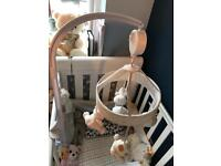 MOTHERCARE baby cot musical mobile . White , cream and beige