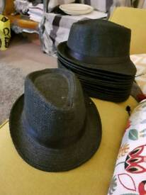 Black straw trilby hats