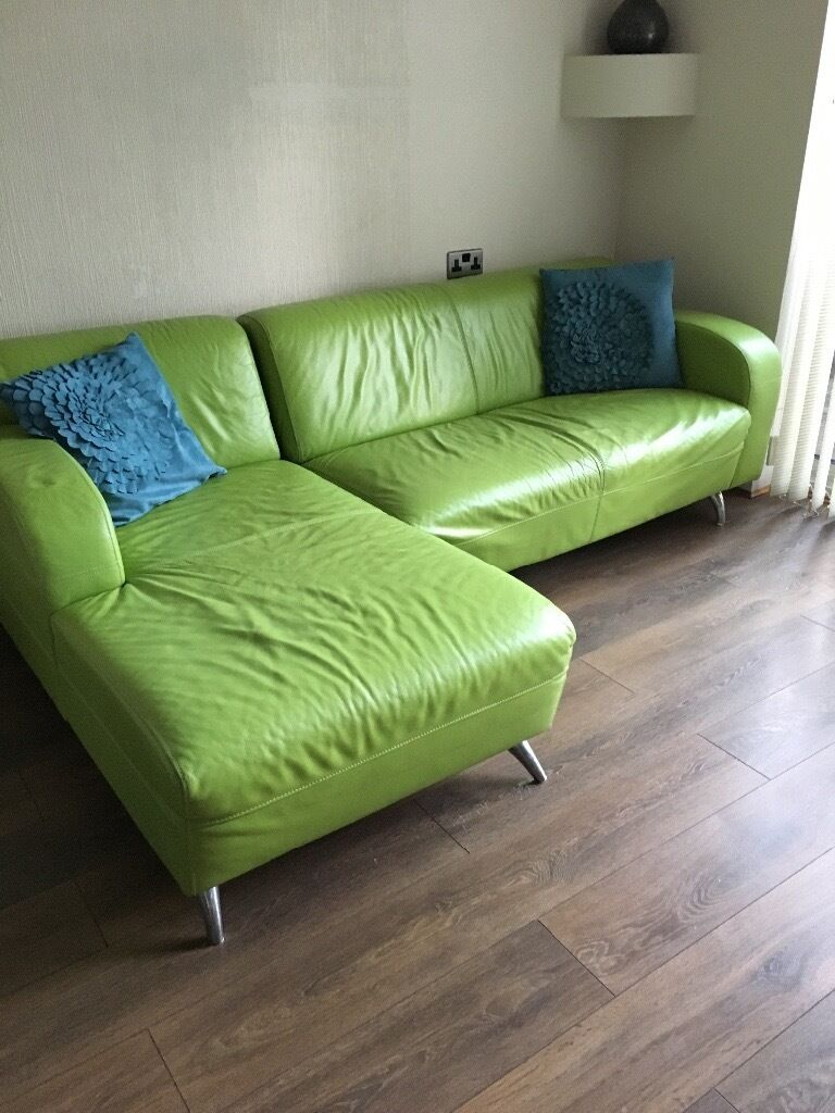 Dfs Lime Green Leather Corner Chaise Sofa In Southampton