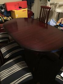 Oval Dark mohogany dinning table & 6 chairs