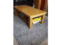 Wooden Coffee Table with storage shelf
