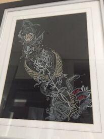 Embroidered framed artwork (large)