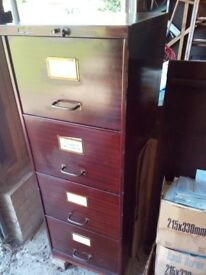 vintage industrial 4 drawer filing cabinet wood effect