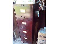 vintage industrial 4 drawer filing cabinet wood effect