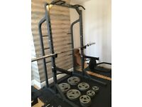 Gym rack, bench, weights and equipment
