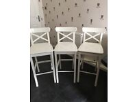 Ikea white kitchen stools x3