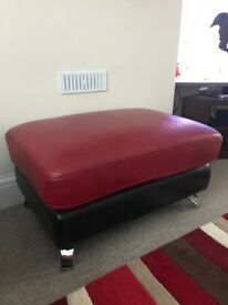 Leather left handed corner sofa and footstool, + free rug!