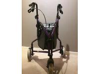 Lightweight Aluminium Tri Wheel Walker - Purple