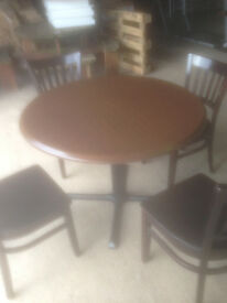 Large Round Dark Coloured Bistro/Cafe Dining Table (Chairs not included)