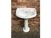 Heritage Bathroom Pedestal Wash Hand Basin / Sink Unit - Excellent Condition, No Chips