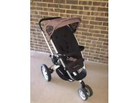 RRP £300+ QUINNY BUZZ PRAM (BLACK / BROWN) EXCELLENT condition + RAIN COVER & LUXURY COSY TOES!