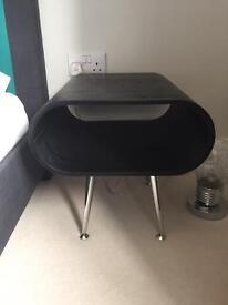 2 Black wood effect oval bedside tables