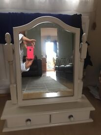 Dressing table mirror two small drawers