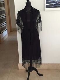 Pretty Black Lace Skirt and Shawl