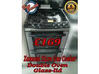 Gas Cooker 55cm Double Oven Stainless steel Zanussi with glass lid