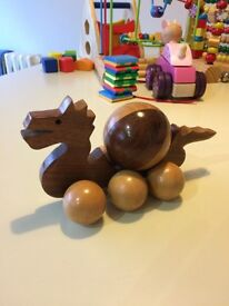 Quality wooden push along dragon toy suit baby/toddler excellent condition