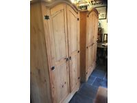 Pair of Matching Solid Pine Wardrobes, Very Good Condition