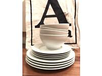 White Bowls, Side Plates + Dinner Plates x 4