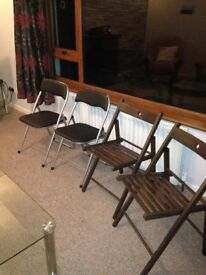 4 Foldable Chairs - Fold Up , 2 wooden 2 metal