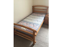 Pine solid Single Bed & Mattress