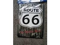 Route 66 & BP Motor Metal signs