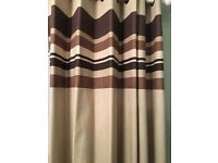 Brown and beige stripped curtains
