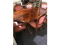 Italian lovely dining table and six chairs-