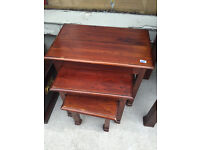 Nest of 3 tables, chunky wood style . £50 Good solid tables , good quality . Free local delivery.