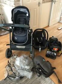 Maxi cosi 2 in 1 pushchair, car seat and isofix
