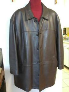 DANIER XL 2X XXL 48 50 MENS LEATHER COAT Stocky Winter Liner OVERSIZED JACKET Brown Sheepskin Supersoft