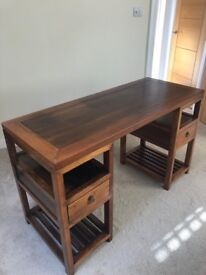 Teak Writing desk with glass top