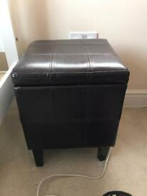Faux leather brown stool with storage option
