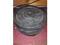 Gold's gym plates with bar and ends - 4 x 5Kg and 4 x 1.25 Kg plates