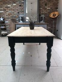Rustic 8 seater farmhouse kitchen dining table